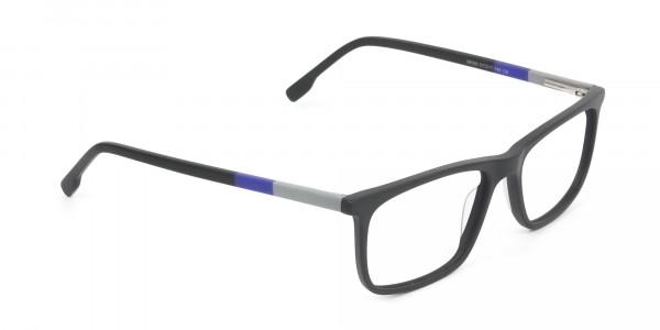 Matte Black & Blue Spectacles in Rectangular - 2