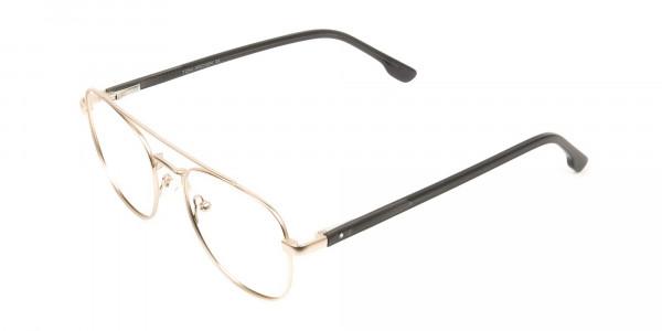 Black and Gold Wayfarer Aviator Glasses in Metal - 3