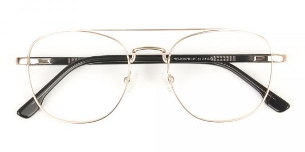 Black and Gold Wayfarer Aviator Glasses in Metal - 6