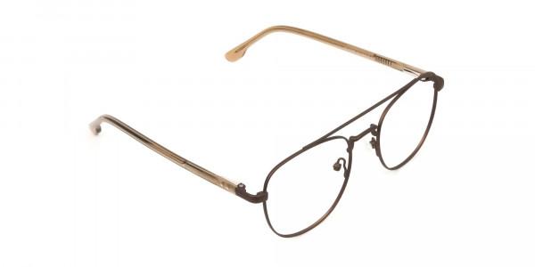 Honey Brown Aviator Wayfarer Glasses in Metal - 2