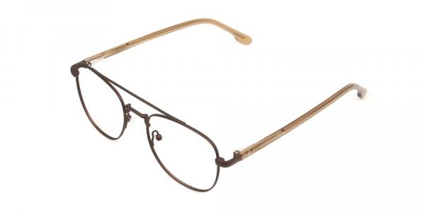 Honey Brown Aviator Wayfarer Glasses in Metal - 3