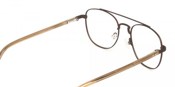 Honey Brown Aviator Wayfarer Glasses in Metal - 5
