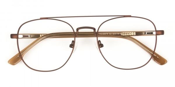 Honey Brown Aviator Wayfarer Glasses in Metal - 6