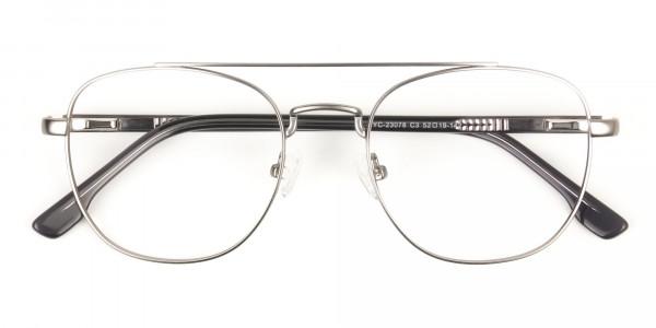 Gunmetal Dark Grey Aviator Wayfarer Glasses - 6