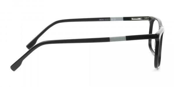 Black Acetate Spectacles in Rectangular - 4