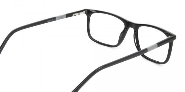 Black Acetate Spectacles in Rectangular - 5