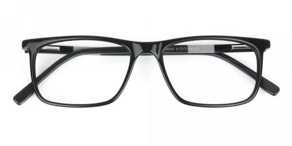 Black Acetate Spectacles in Rectangular - 6