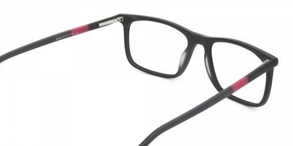 Matte Black & Red Acetate Spectacles - 5