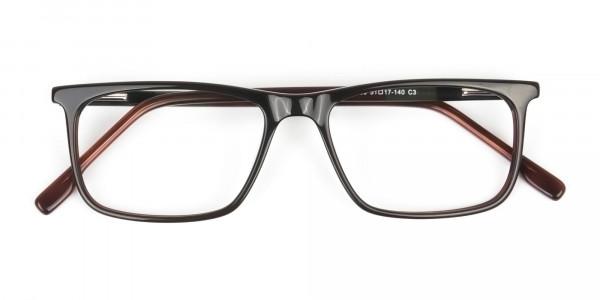 Dark Brown Acetate Spectacles in Rectangular - 6
