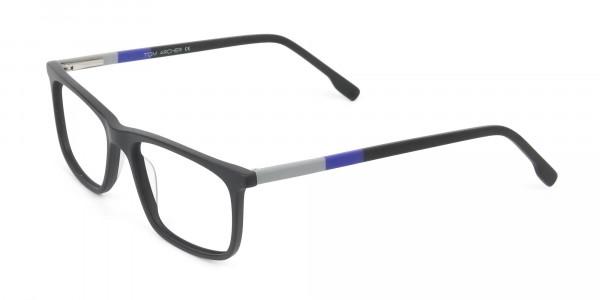 Matte Black & Blue Spectacles in Rectangular - 3