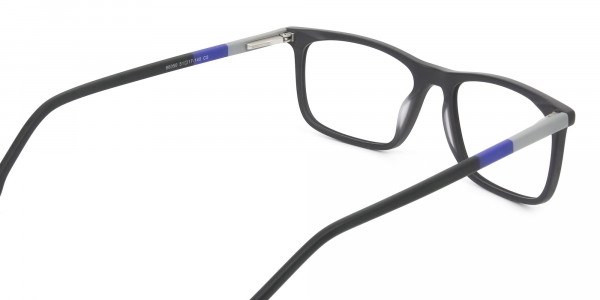 Matte Black & Blue Spectacles in Rectangular - 5
