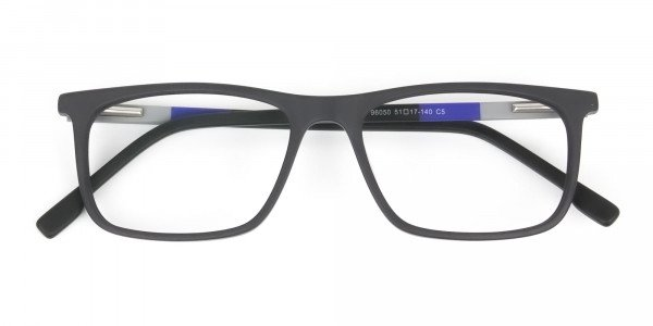Matte Black & Blue Spectacles in Rectangular - 6