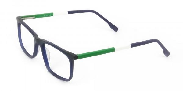 Green & Matte Navy Blue Spectacles - 3