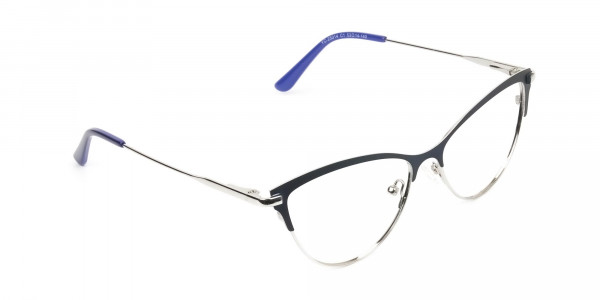 Navy Blue and Silver Metal Cat Eye Glasses - 2