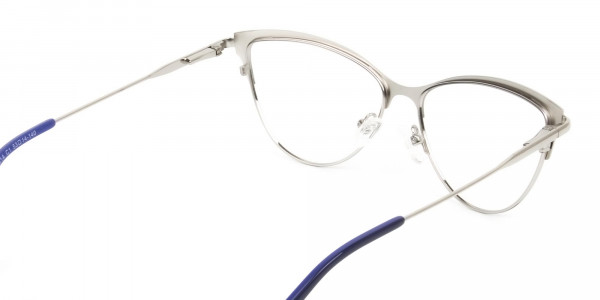 Navy Blue and Silver Metal Cat Eye Glasses - 5