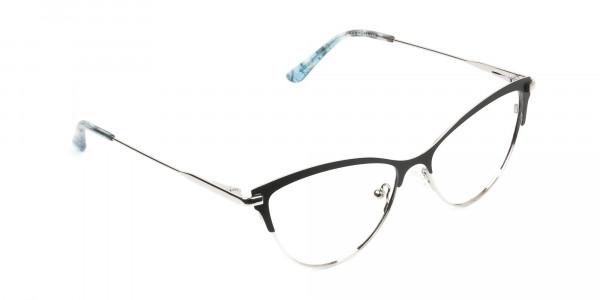 Silver & Black Cat Eye Browline Glasses - 2