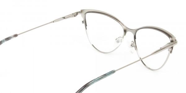 Silver & Black Cat Eye Browline Glasses - 5