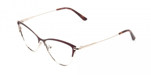 Burgundy Red and Gold Metal Cat Eye Glasses - 3