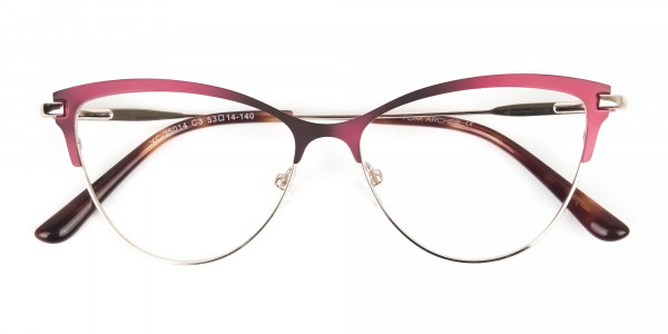 Burgundy Red and Gold Metal Cat Eye Glasses - 6