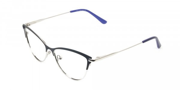 Navy Blue and Silver Metal Cat Eye Glasses - 3