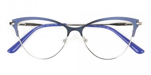 Navy Blue and Silver Metal Cat Eye Glasses - 6