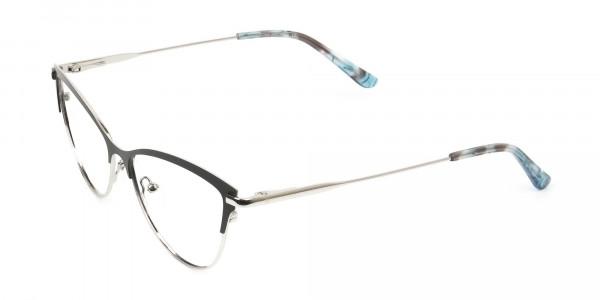 Silver & Black Cat Eye Browline Glasses - 3