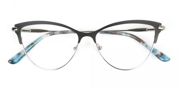 Silver & Black Cat Eye Browline Glasses - 6