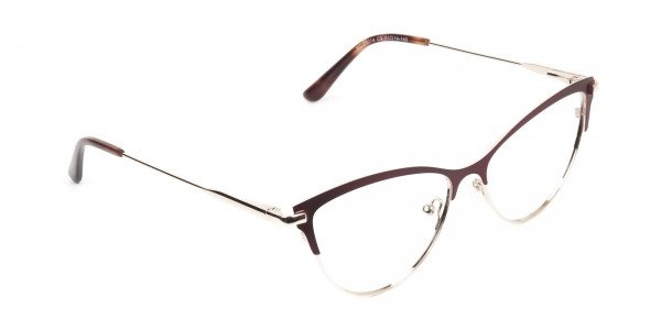 Burgundy Red and Gold Metal Cat Eye Glasses - 2