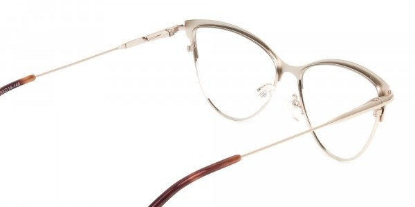 Burgundy Red and Gold Metal Cat Eye Glasses - 5