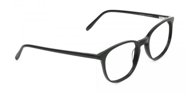 Black Wayfarer Glasses Thin Frame - 2