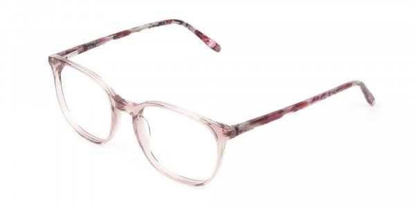 Crystal Pink Eyeglasses in Wayfarer - 3