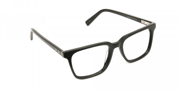 Handcrafted Black Thick Acetate Glasses in Rectangular - 2