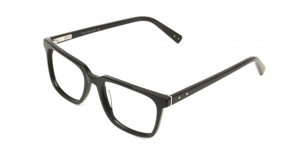 Handcrafted Black Thick Acetate Glasses in Rectangular - 3