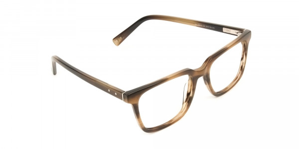 Handcrafted Stripe Brown Thick Acetate Glasses in Rectangular - 2