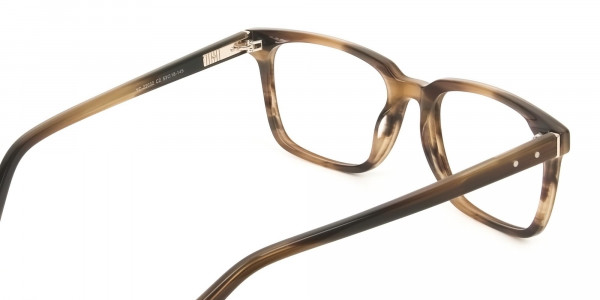Handcrafted Stripe Brown Thick Acetate Glasses in Rectangular - 5