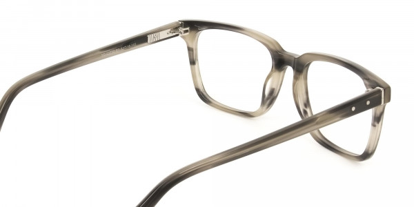 Handcrafted Marble Grey Thick Acetate Glasses in Rectangular - 5