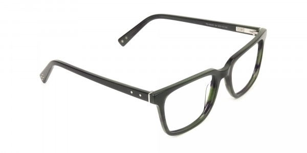 Handcrafted Dark Navy Thick Acetate Glasses in Rectangular - 2