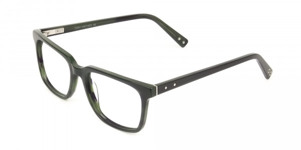 Handcrafted Dark Navy Thick Acetate Glasses in Rectangular - 3