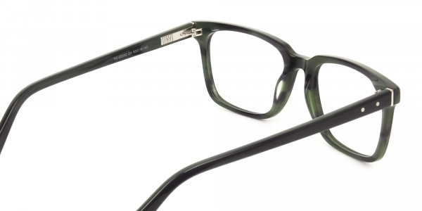 Handcrafted Dark Navy Thick Acetate Glasses in Rectangular - 5