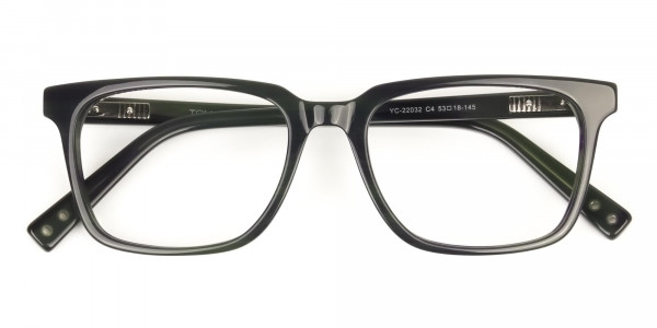 Handcrafted Dark Navy Thick Acetate Glasses in Rectangular - 6