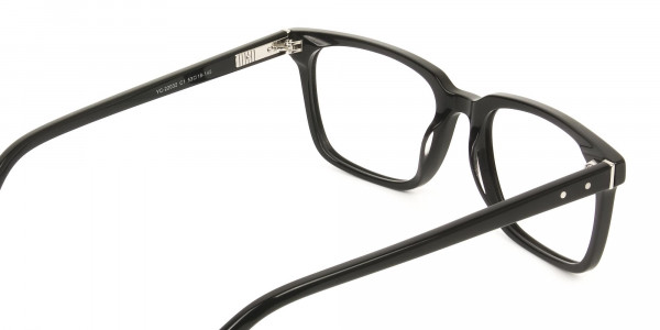 Handcrafted Black Thick Acetate Glasses in Rectangular - 5