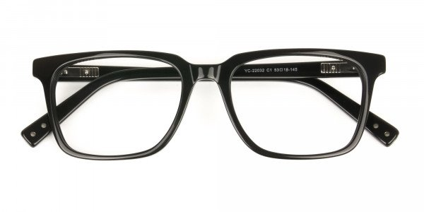 Handcrafted Black Thick Acetate Glasses in Rectangular - 6