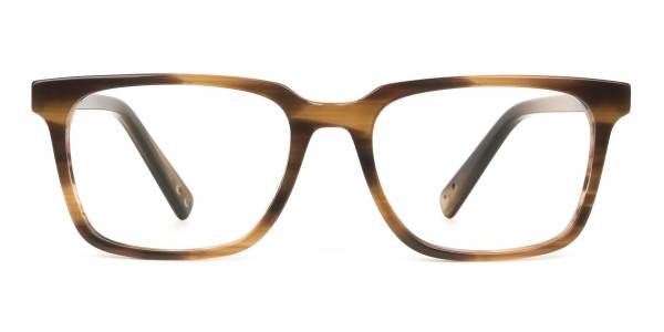 Handcrafted Stripe Brown Thick Acetate Glasses in Rectangular - 1