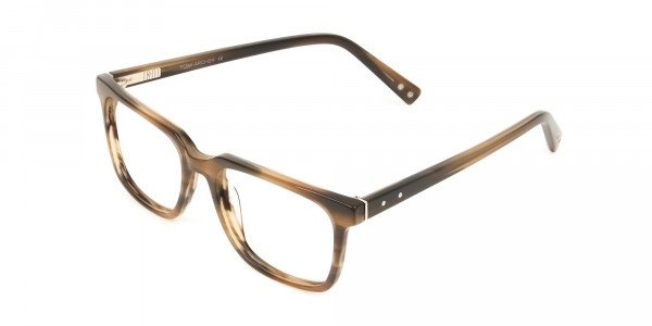 Handcrafted Stripe Brown Thick Acetate Glasses in Rectangular - 3