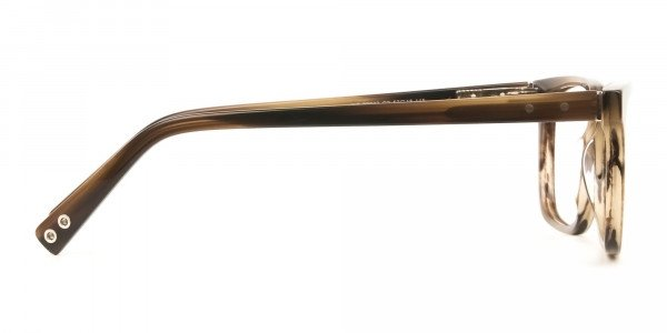 Handcrafted Stripe Brown Thick Acetate Glasses in Rectangular - 4