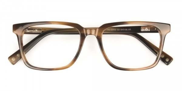 Handcrafted Stripe Brown Thick Acetate Glasses in Rectangular - 6