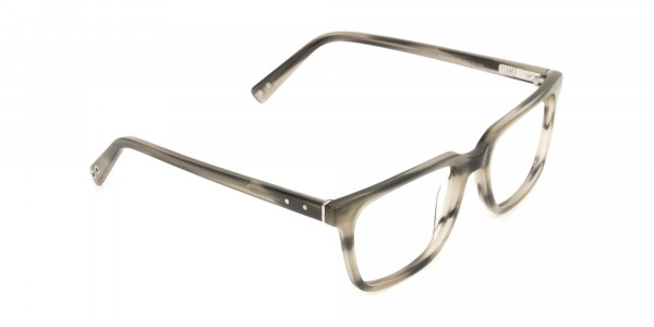 Handcrafted Marble Grey Thick Acetate Glasses in Rectangular - 2