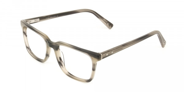 Handcrafted Marble Grey Thick Acetate Glasses in Rectangular - 3