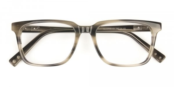 Handcrafted Marble Grey Thick Acetate Glasses in Rectangular - 6