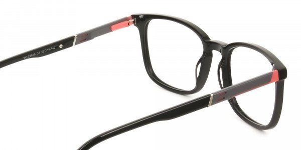 Lightweight Black Sport Style Rectangular Glasses - 5
